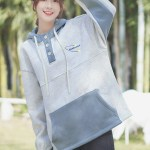 Greyish Blue Three Buttons Hoodie