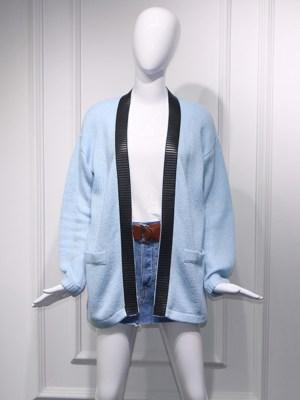 Hyuna Baby Blue Mohair V-Neck Cardigan 00013