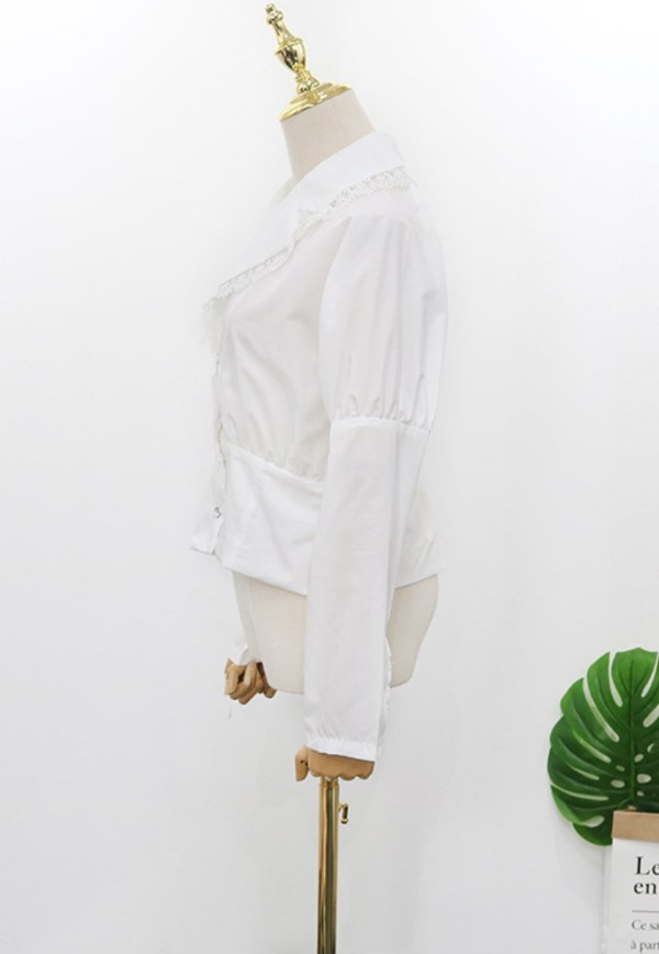 Oversized Notched Shawl In Ivory White Blouse | Hyuna