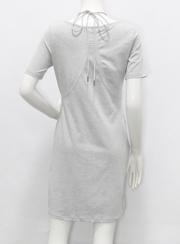 Pebble Grey Scoop Neckline Dress | Hyuna