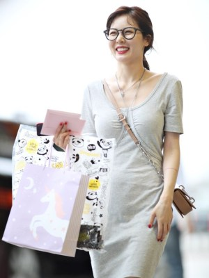 Pebble Grey Scoop Neckline Dress | Hyuna