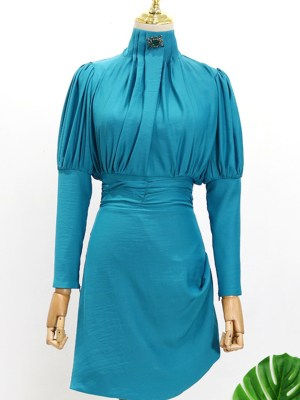 IU Persian Blue Slim Waist Turtle Neck Dress 00008