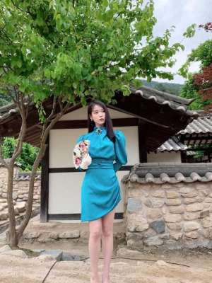 Persian Blue Slim Waist Turtle Neck Dress | IU – Hotel Del Luna