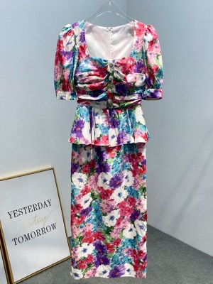 Joy – Red Velvet Floral Puff Sleeve Retro Dress (7)