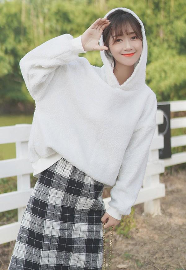 Loose Snow White Wool Hoodie