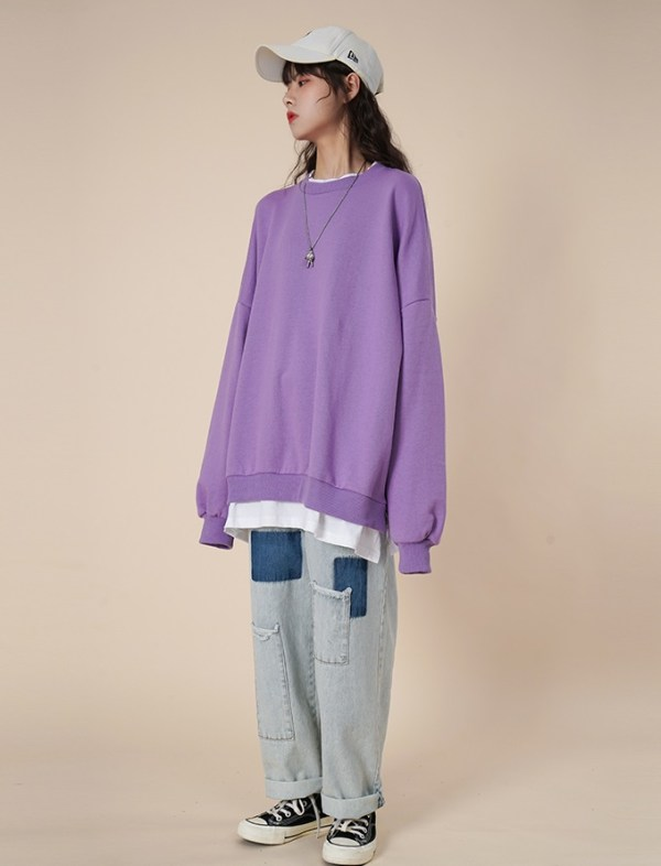 Purple Loose Round Neck Sweater With Fake Inner Shirt | Moonbyul – Mamamoo