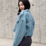 Oversized Denim Cropped Jacket | Moonbyul – Mamamoo