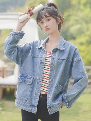 One Side Open And Closed Pockets Denim Jacket