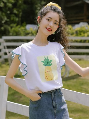 Pineapple Print Ruffled Sleeves T-Shirt (5)