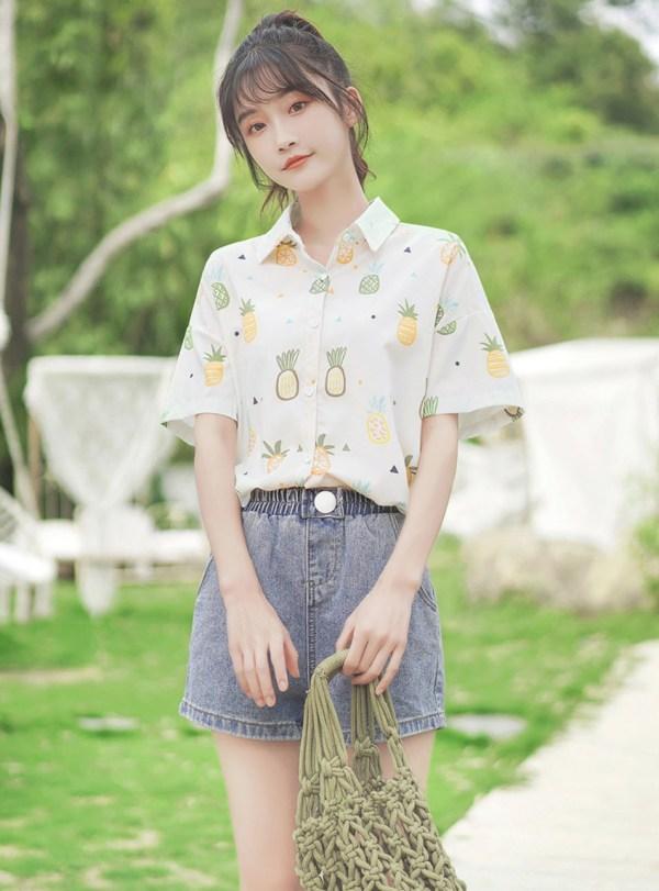 Pineapple Sketches Print Shirt