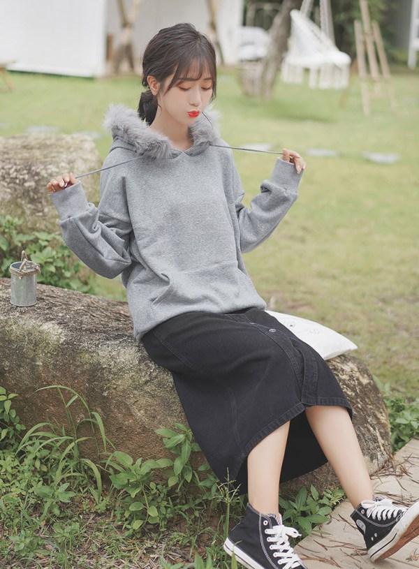 Plain Grey Fur Hood Hoodie