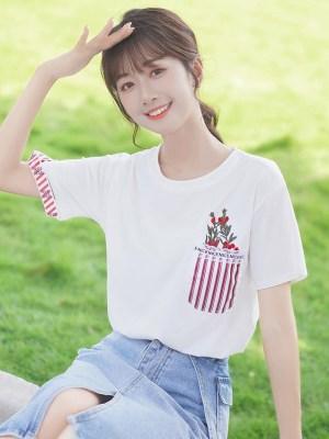 Red Flowers Pocket-like Print T-Shirt
