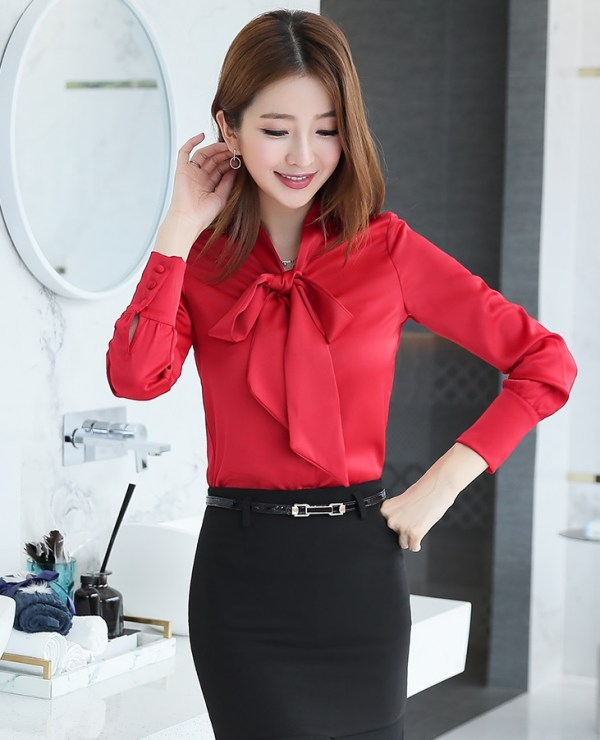 Red Long Sleeve Bowknot Blouse   Chung Ha