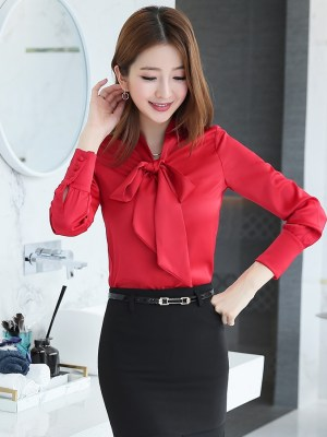 Red Long Sleeve Bowknot Blouse Chung Ha (1)