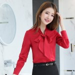 Red Long Sleeve Bowknot Blouse | Chung Ha