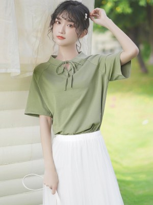 Ribbon Lace Neckline Green T-Shirt (10)