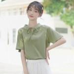 Ribbon Lace Neckline Green T-Shirt