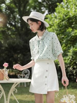 Rose – Blackpink White Irregular A-Line Skirt (4)