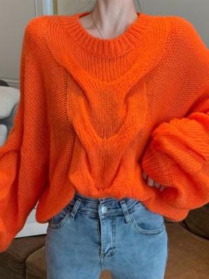 Rose Oversized Cable Fire Orange Sweater 00002