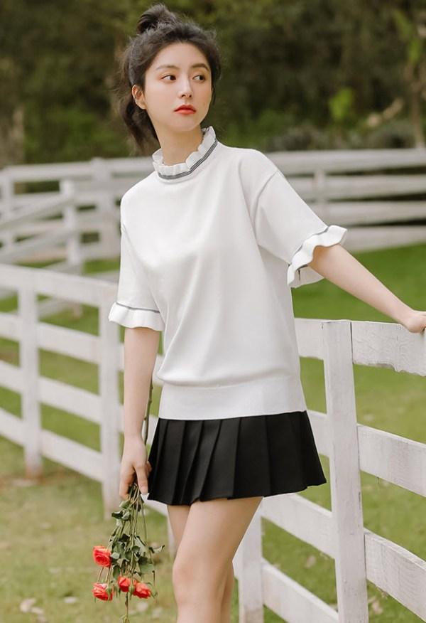 Ruffled Neckline And Sleeves White T-Shirt