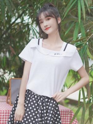 Square Neckline White T-Shirt (3)