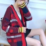 Blood Red Plaid Oversized V-neck Cardigan | Taehyung – BTS