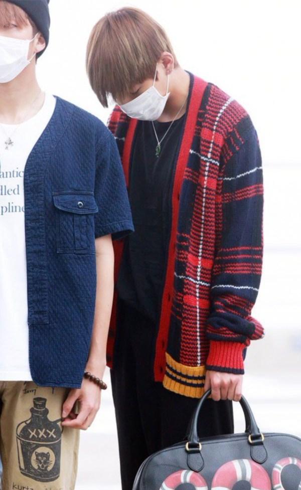 Blood Red Plaid Oversized V-neck Cardigan   Taehyung – BTS