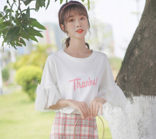 Thanks White Lace Bell Sleeve T-Shirt