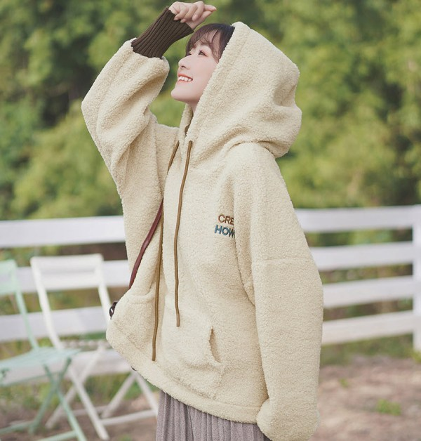 Turtleneck Two-Piece Apricot Hoodie