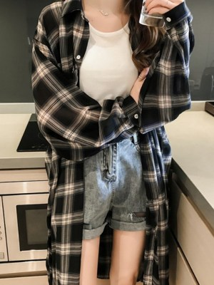 Twice Mina -Oversized Plaid Cardigan (6)