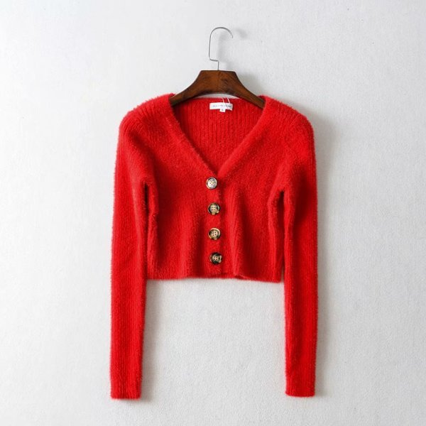 Red Cropped V-Neck Cardigan With Buttons | Momo – Twice