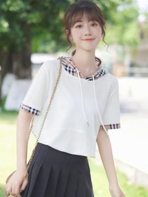 Two Piece-like Plaid Hood T-Shirt (2)