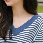 V-Neck Cute Blue Striped T-Shirt