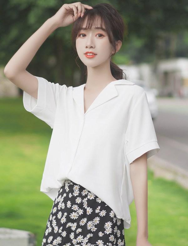 V-Neck White Plain Shirt
