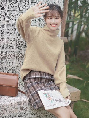 Beige Autumn Turtleneck Cotton Sweater (7)