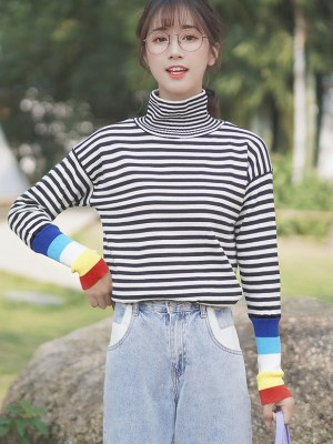 Black And White Striped Sweater With Colorful Sleeves (6)
