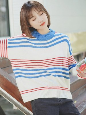 Blue And Red Striped Round Neck Sweater