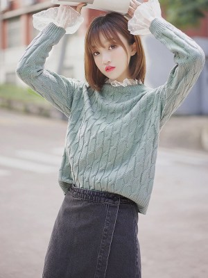 Blue Green Laced Neck & Sleeves Sweater (7)