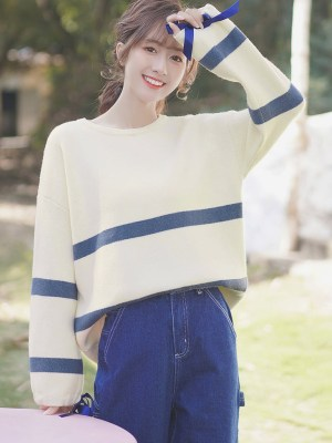 Blue Striped Apricot Sweater With Ribbon Sleeves