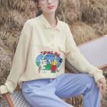 Cartoon Print Apricot Sweater