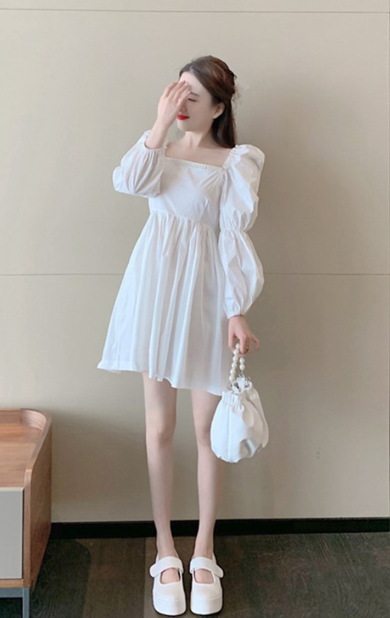 Pearl Embellished Square Neck White Dress   Chaeyoung – Twice