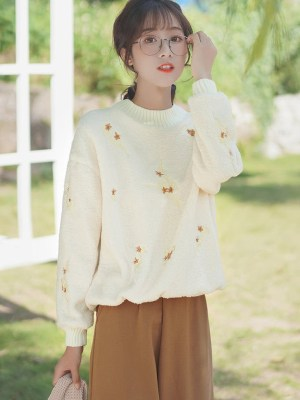Embroidered Autumn Leaves Cream Sweater (6)