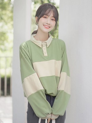 Green And Cream Striped Sweater (4)