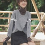Grey Two-Piece Turtleneck Sweater