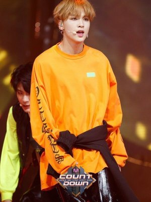 Orange Letter Printed Sweater Shirt | Haechan – NCT