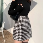 Black and White Houndstooth Wool Skirt | Hyuna