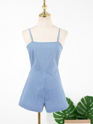 Hyuna Blue Plaid Sling Jumpsuit (2)