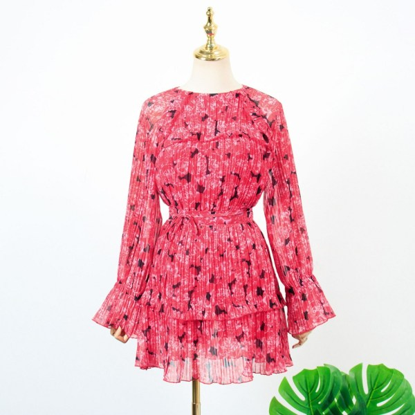 Red Floral Pleated Skirt   Hyuna