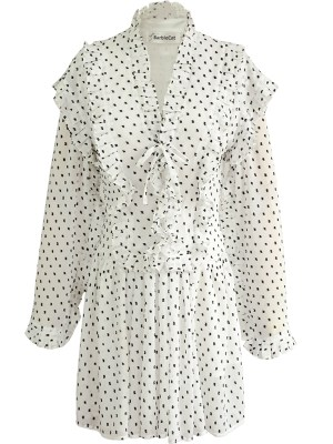 Jennie – BlackPink White Polka Dot Dress (1)