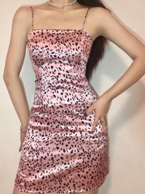 Jennie Pink Leopard Pattern Sling Mini Dress (8)